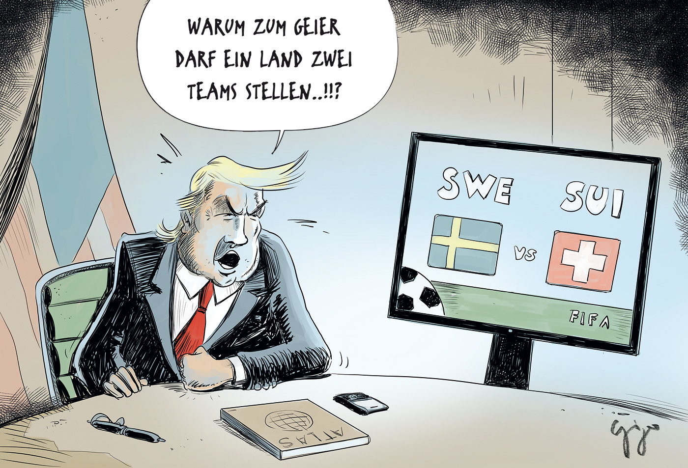 Cartoon Der Woche Fussball Wm Giger Graphics Grafik
