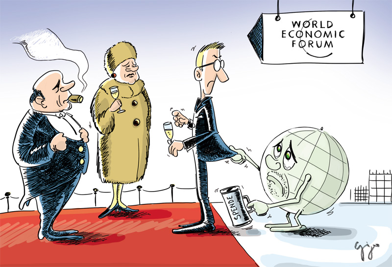 Cartoon der Woche / WEF Davos Giger Graphics | Grafik Werbung Cartoons  Werbekampagnen Webdesign | Leuk | Wallis